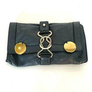 Chloe Washed Indigo Blue Lambskin Leather Clutch